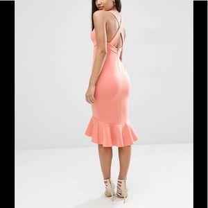 ASOS peach bodycon pephem cocktail dress